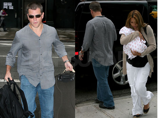 Photos of Matt Damon and Luciana Barroso Leaving Miami