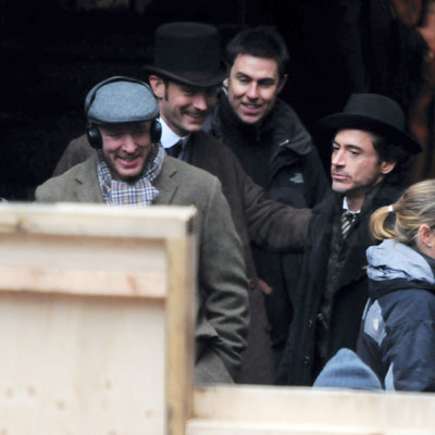 Guy Ritchie, Robert Downey Jr and Jude Law Film Sherlock Holmes