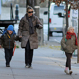 Kate Winslet, Joe Mendes and Mia Threapleton Going to School