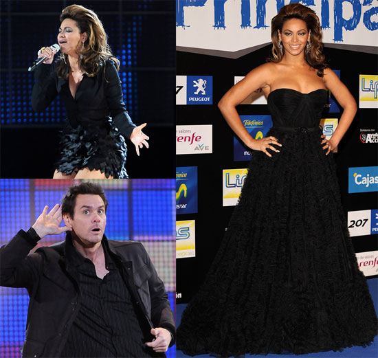 Photos of Beyonce and Jim Carrey at Los 40 Principales Awards