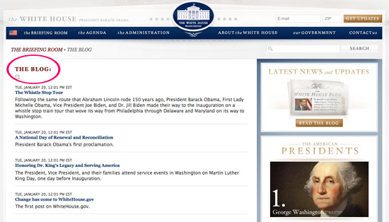 The White House Site Gets a Facelift, Adds a Blog