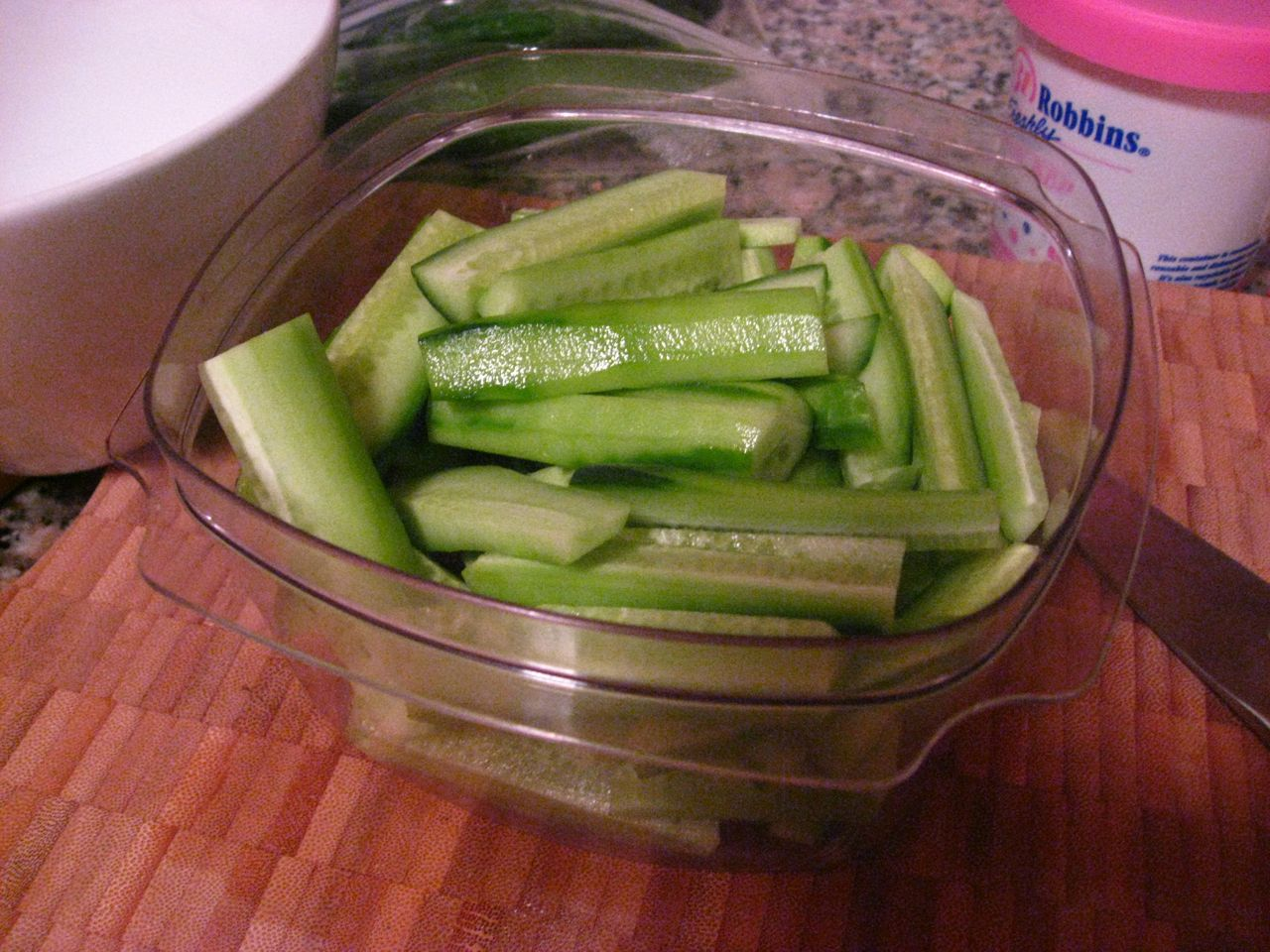 Peeled cucumbers cut into smaller pieces