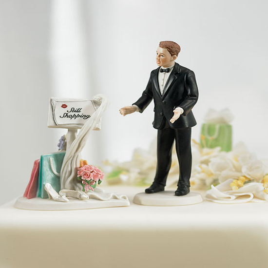 Ladies, do you seriously want this humorously tacky Still Shopping ($48) cake topper? Don't forget this is supposed to be a once in a lifetime thing!