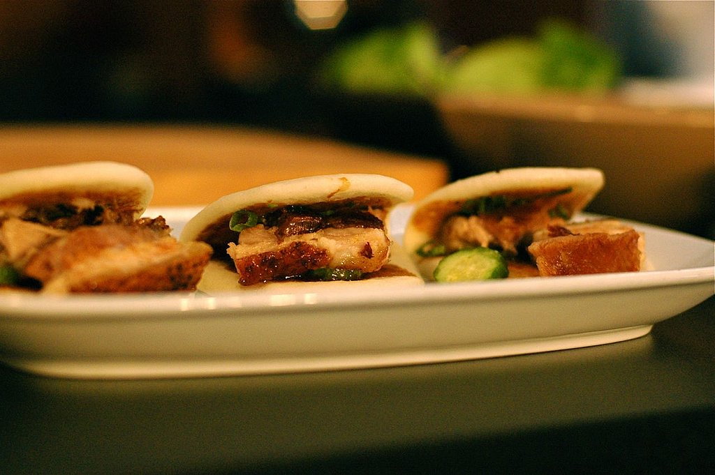 Chang served the dishes he made during the demo, pork buns and spicy lettuce wraps, at the party.