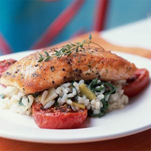 Crispy Salmon With Risotto and Roasted Tomatoes