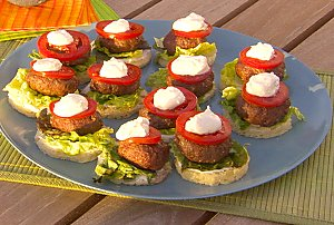 Mini Moroccan Lamb Burgers with Lemon Yogurt Sauce