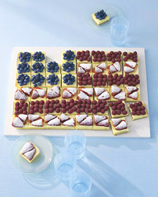 Cheesecake squares act as the canvas to this gorgeous mixed berry flag.