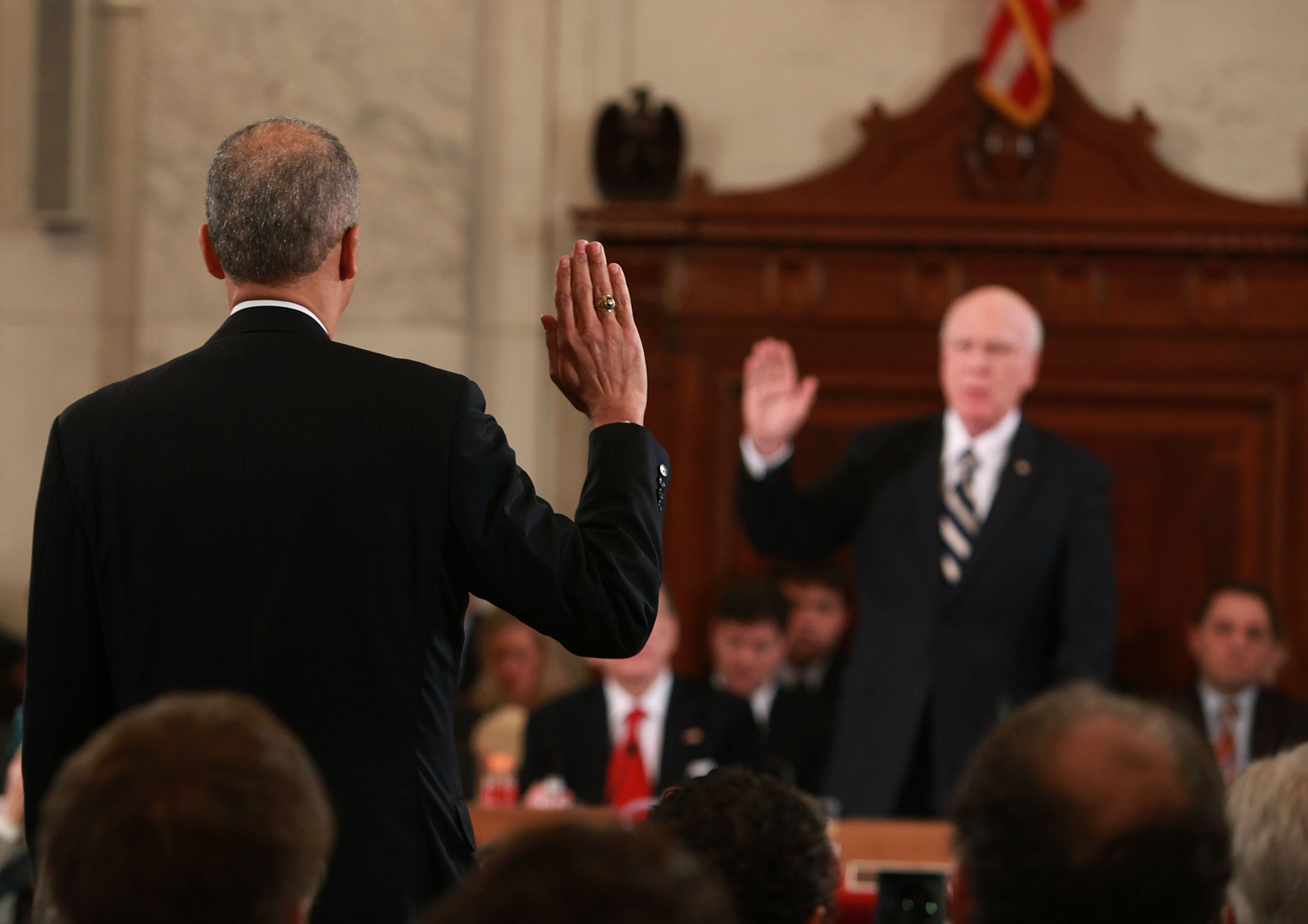 Attorney General nominee Eric Holder is sworn in.