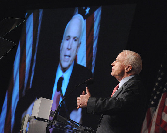 """McCain Sheds His """"Green Speech"""" Skin, Shines Amid Protests"""