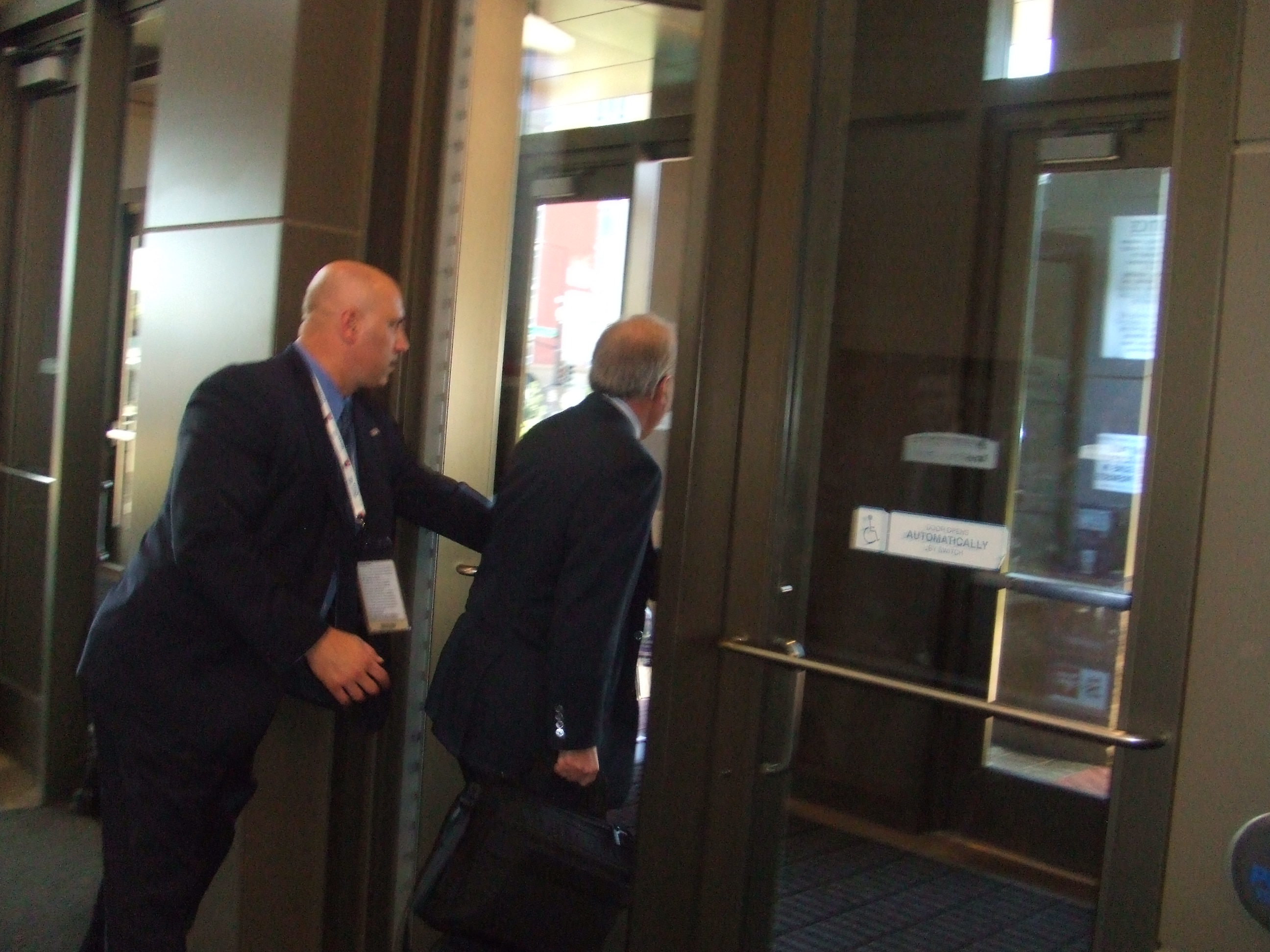 Karl Rove! First one out the door. He seemed friendly!