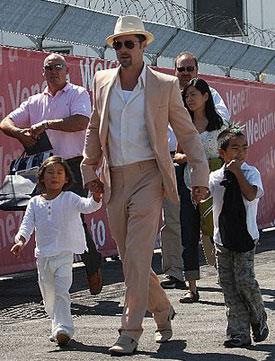 Men in White: The Jolie-Pitt Boys Keep It Cool