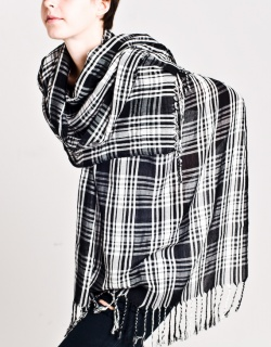 Black & White Plaid Scarf $42, OAK