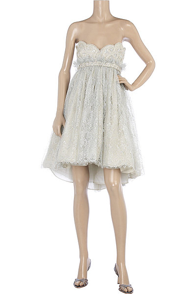Marchesa Strapless Embroidered Dress