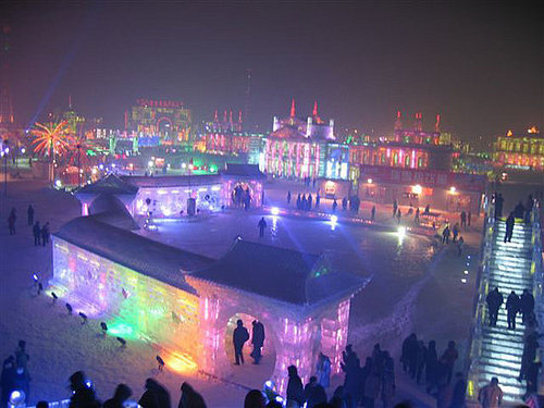 Harbin, Russia home of the biggest ice sculpture festival.