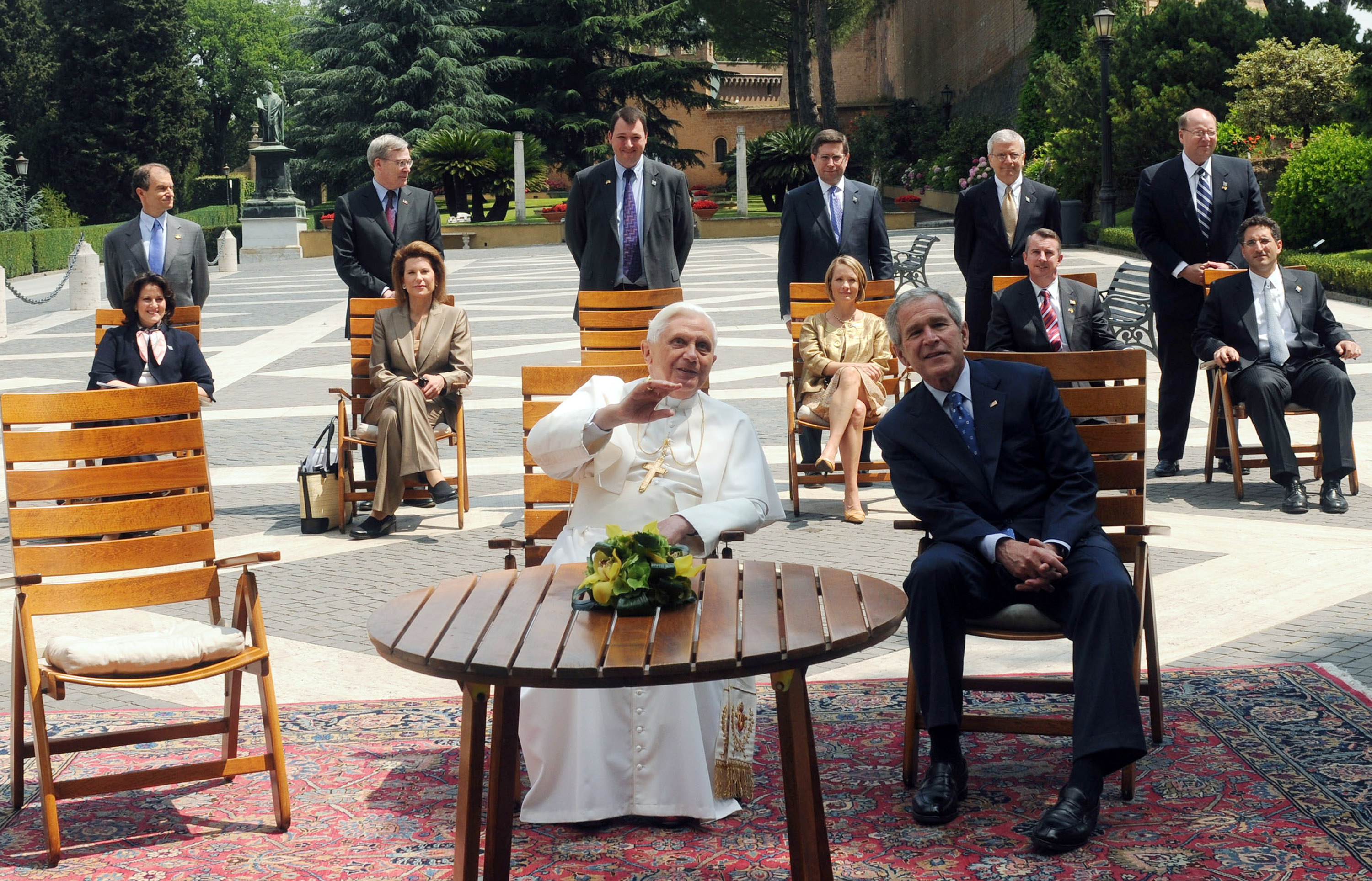 Pope Benedict XVI sits with Bush and his delegation in the Vatican June 13, 2008.