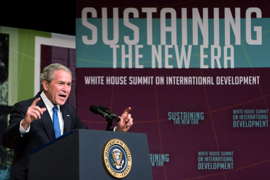 Bush Says Now Is the Time to Give Aid to Poor Nations