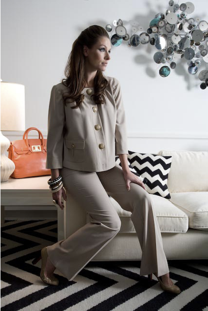 Courtney 3/4 Sleeve Suiting Jacket ($240), Sarah Suiting Trouser ($160), Marlena Diaper Bag/Handbag ($400
