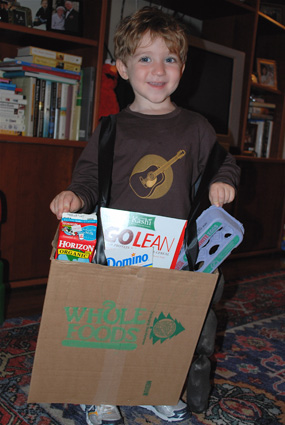 Ecoween:  Cardboard Box Grocery Bag