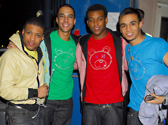 Photos of JLS Members Aston Merrygold, Marvin Humes, Jonathan Gill and Oritse Williams at Chicago Rock Cafe in Stevenage