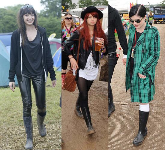 Daisy Lowe, Pixie Geldof and Kelly Osbourne at Glastonbury Festival