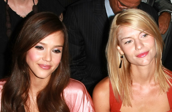 Photo of Jessica Alba and Claire Danes at New York Fashion Week Front Row Narcisco Rodriguez Show. Whose Makeup Do You Prefer?