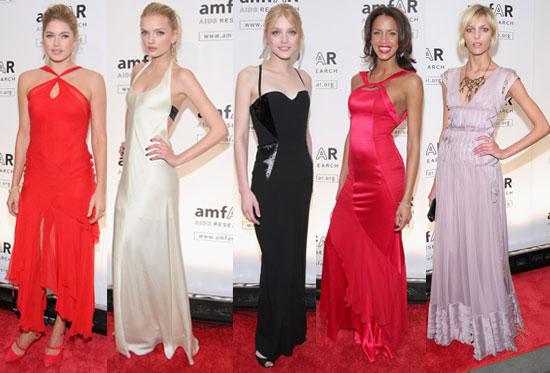 Photos of Doutzen Kroes, Lily Donaldson, Jessica Stam, Noemie Lenoir, and Anja Rubik at amfAR New York Gala