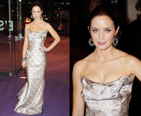 Actress Emily Blunt at the UK Film Premiere of The Young Victoria in Vivienne Westwood