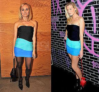 Diane Kruger and Alexandra Richards Wear Alexander Wang Stretch Turquoise Dress