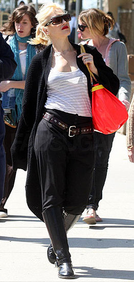 Gwen Stefani Strolls Ventura Boulevard in a Pirate Ensemble With Brown Belt and Coral LAMB Bag
