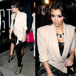 Kim Kardashian at STK's One Year Anniversary in LA Wearing Yves Saint Laurent Grid Boots and House of Harlow Necklace