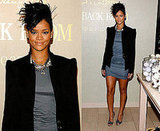 Rihanna and LeBron James Visit Carol's Daughter Hand and Foot Spa, Rihanna Wearing a Black Blazer and Gray Dress