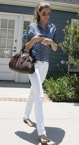 Model Gisele Bundchen in White Jeans and Blue Blouse in Santa Monica
