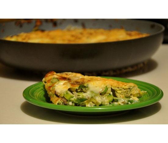 Leek, Mushroom, Asparagus Frittata