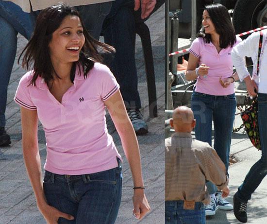 Photos of Freida Pinto, Who's Dating Slumdog Millionaire Costar Dev Patel, Filming Schnabel's Miral in Israel