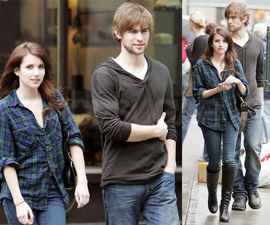 Photos of Chace Crawford and Emma Roberts Filming Twelve in NYC