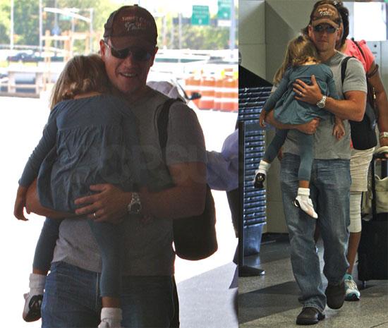 Photos of Matt Damon and Isabella at LaGuardia