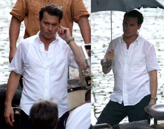 Johnny Depp Wet on Set