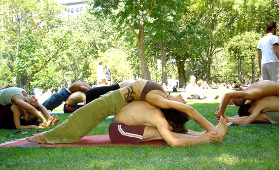 How to Do Forward Bend Lounge Partner Yoga Pose