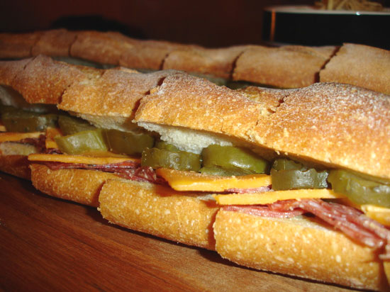 Salami and Pickle Sandwich