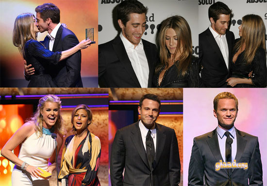 Jake Awards Jennifer at the GLAAD Awards