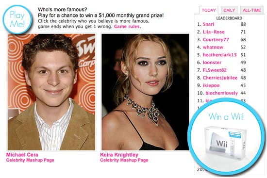 Win a Wii by Playing Celebrity Faceoff!