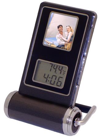 Travel Digital Photo Display And Alarm Clock Combo