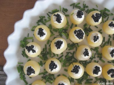 Yummy Link: Mini-Potatoes with Wasabi-Cream & Caviar