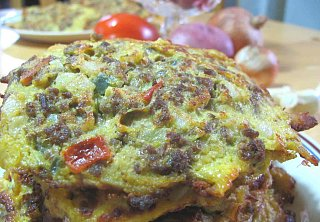 Monday's Leftovers:  Ground Beef Omelet