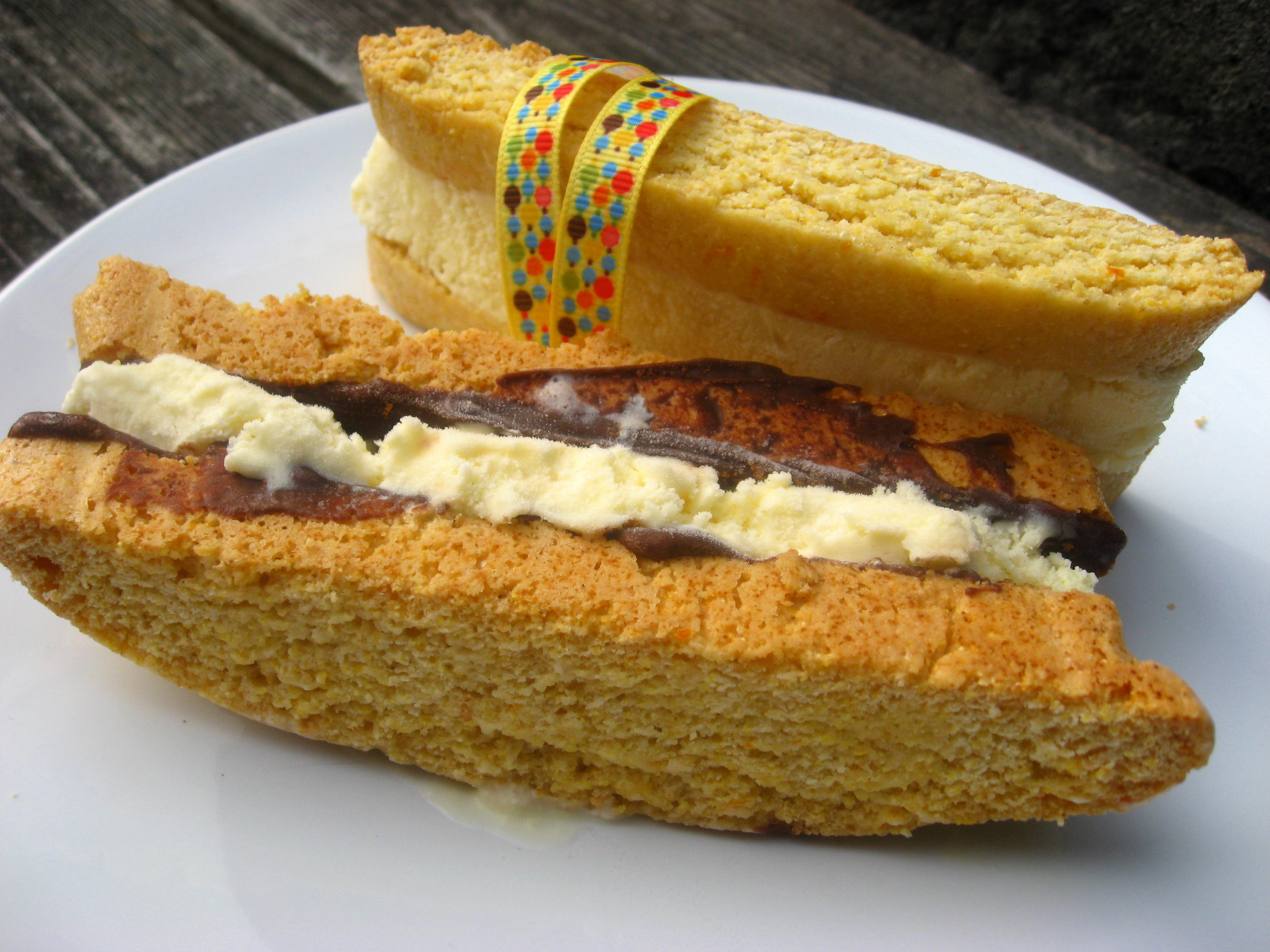 Summer of Sandwiches: Chocolate Citrus Biscotti with Orange Ice Cream