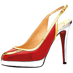 Christian Louboutin - Fox Trot Pumps - Red Patent & Gold & Silver Mirror Calf Leather