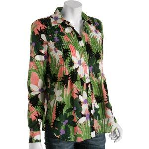 TROPICAL PRINT: AdamPlusEve green tropical voile pin-tuck blouse