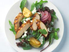 BBQ Chicken with Grilled Apples and Salad
