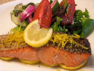 Reader Recipe: Roasted Salmon with Cucumber Tomato Dill Salad