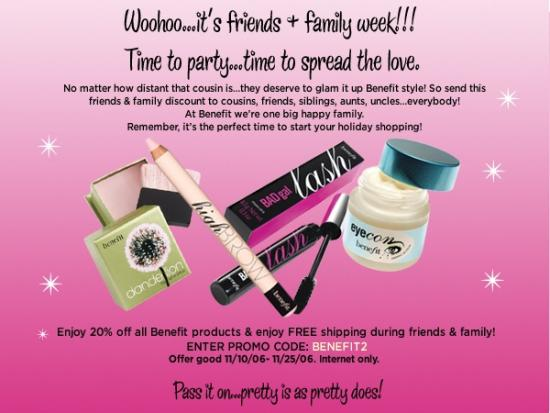 Friends and Family Discounts: Benefit Cosmetics